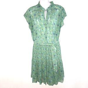 Lauren Conrad Green Pleated Sleeveless Dress